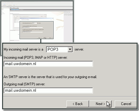 IMAP en SMTP servers instellen in Outlook Express.