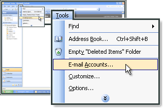 Selecteer E-mailaccounts in MS Outlook.