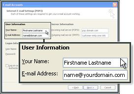 Voer uw gebruikersinformatie in om de e-mailaccount in MS Outlook in te stellen.