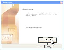 Voltooi het instellen van een e-mailaccount in Microsoft Outlook.