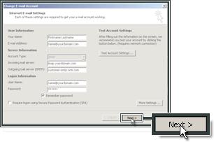 Verder gaan met het voltooien van uw mail account in outlook 2007.