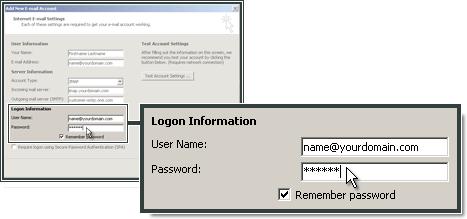 Voer de gebruikersinformatie in in Outlook 2007.