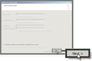 Ga verder met het instellen van de IMAP en SMTP servers voor de account.