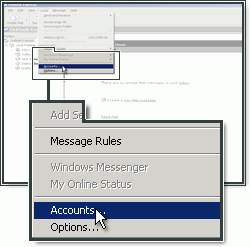 Selecteer Accounts in Outlook Express.