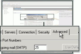Selecteer het tabblad Geavanceerd om het SMTP poortnummer te kunnen aanpassen.